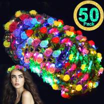 Glow Party Supplies-50 Pack LED Flower Crowns Flashing Flower Headdress,Glow In The Dark Light Up Flower Headband for Girls Women Bulk Masquerade Party Favors Costume Wedding Mothday Day Gifts