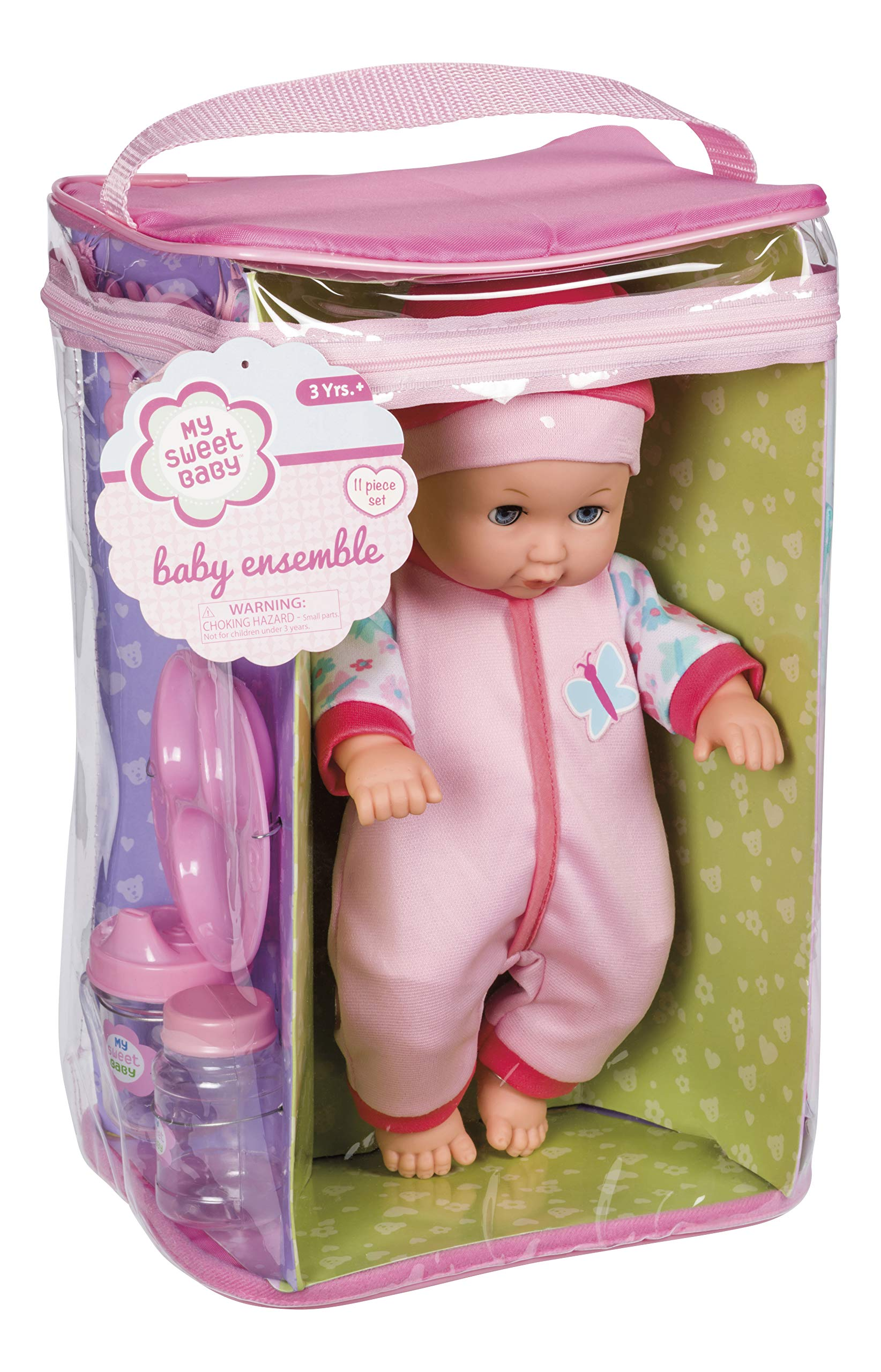 """Toysmith Deluxe Baby Ensemble 12- Piece Doll Playset - 11 1/2"""" soft body doll with change of clothes (clothing may vary)"""