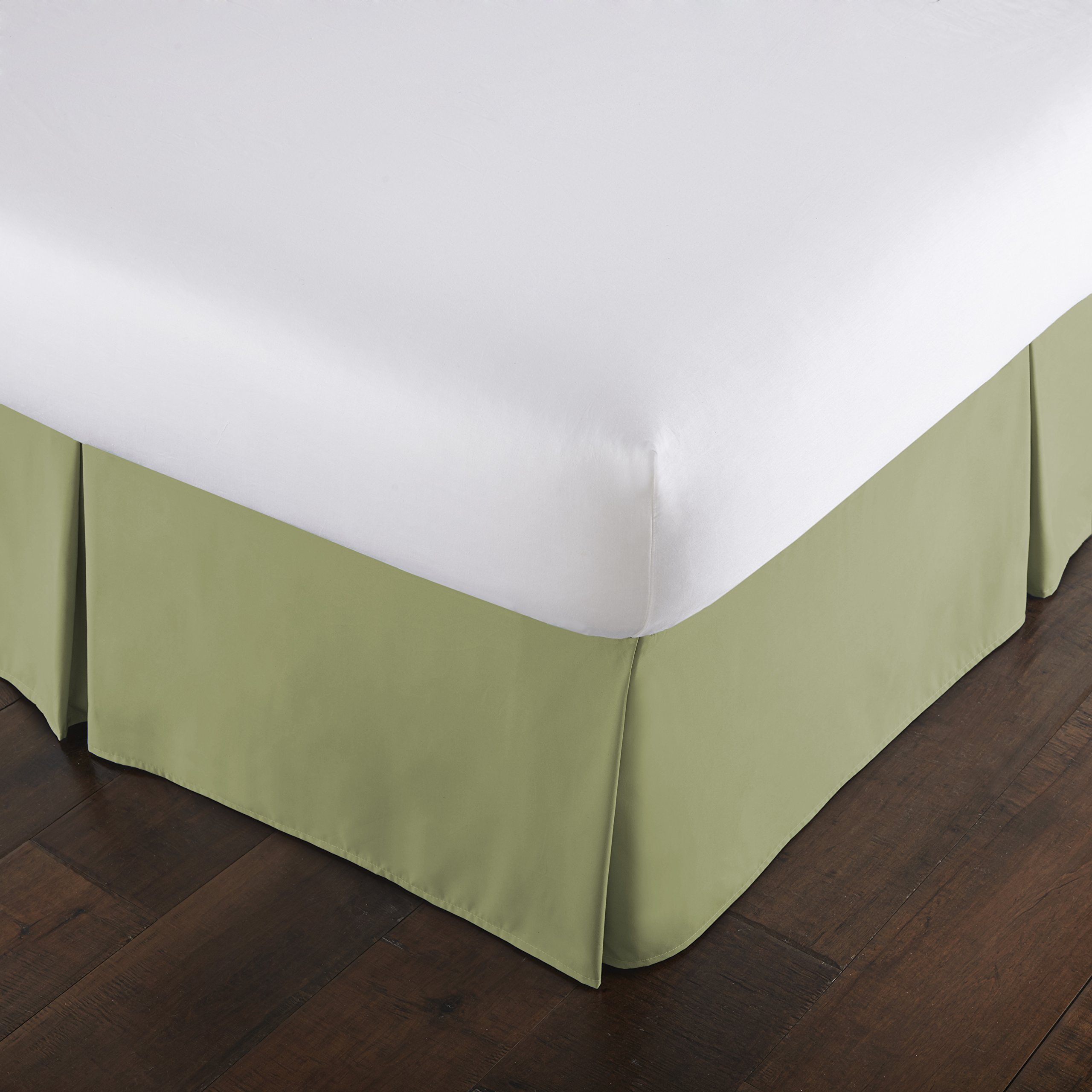 Southshore Fine Linens - VILANO Springs - 15 inch Drop Pleated Bed Skirt, Sage Green, California King