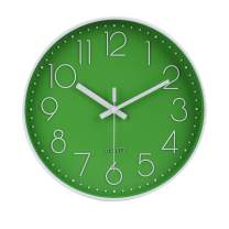 "jomparis 12"" Green Wall Clock Silent & Non-Ticking Battery Operated Quartz Round Clock"