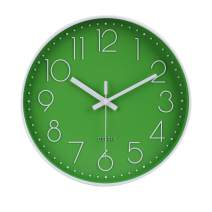 "jomparis 12"" Green Wall Clock Silent & Non-Ticking Battery Operated Quartz Round Clock"