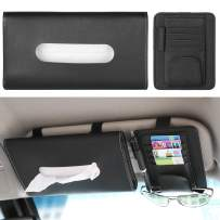 Car Visor Tissue Holder & Card/Glasses Holder for Car, Sun Visor Napkin Holder, PU Leather Tissue Case Holder Paper Towel Box, Car Mask Holder Car Tissue Dispenser Paper Carton for Sun Visor, Black