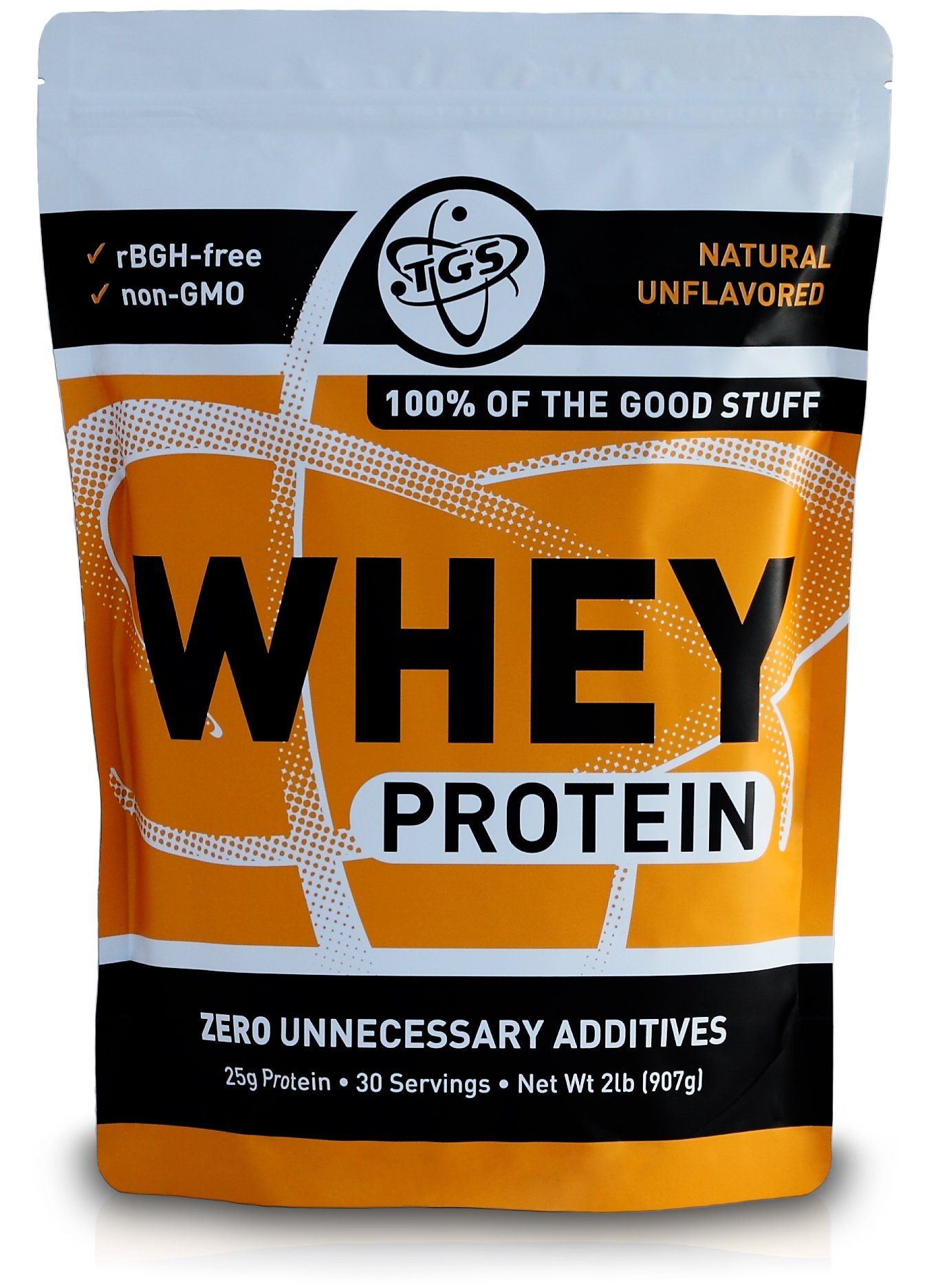 TGS All Natural 100% Whey Protein Powder - Unflavored 2lb