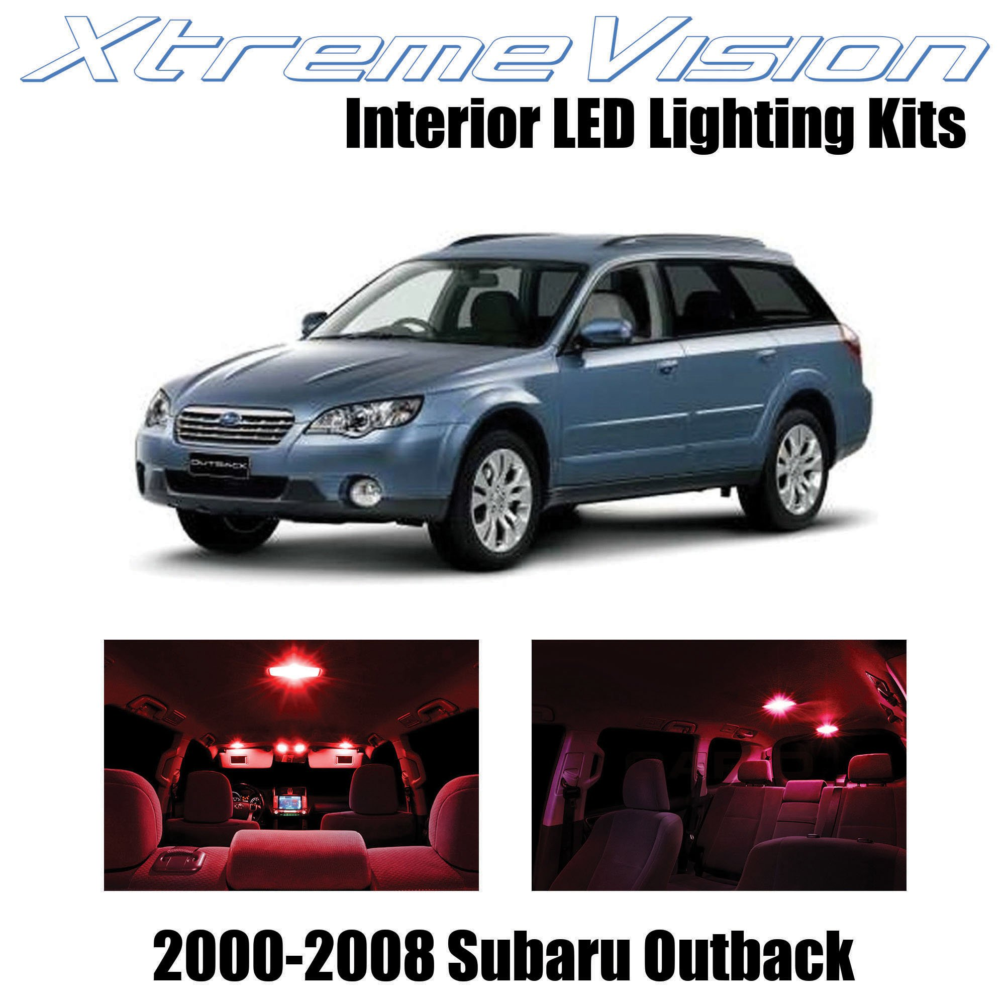 XtremeVision Interior LED for Subaru Outback 2000-2008 (10 Pieces) Red Interior LED Kit + Installation Tool