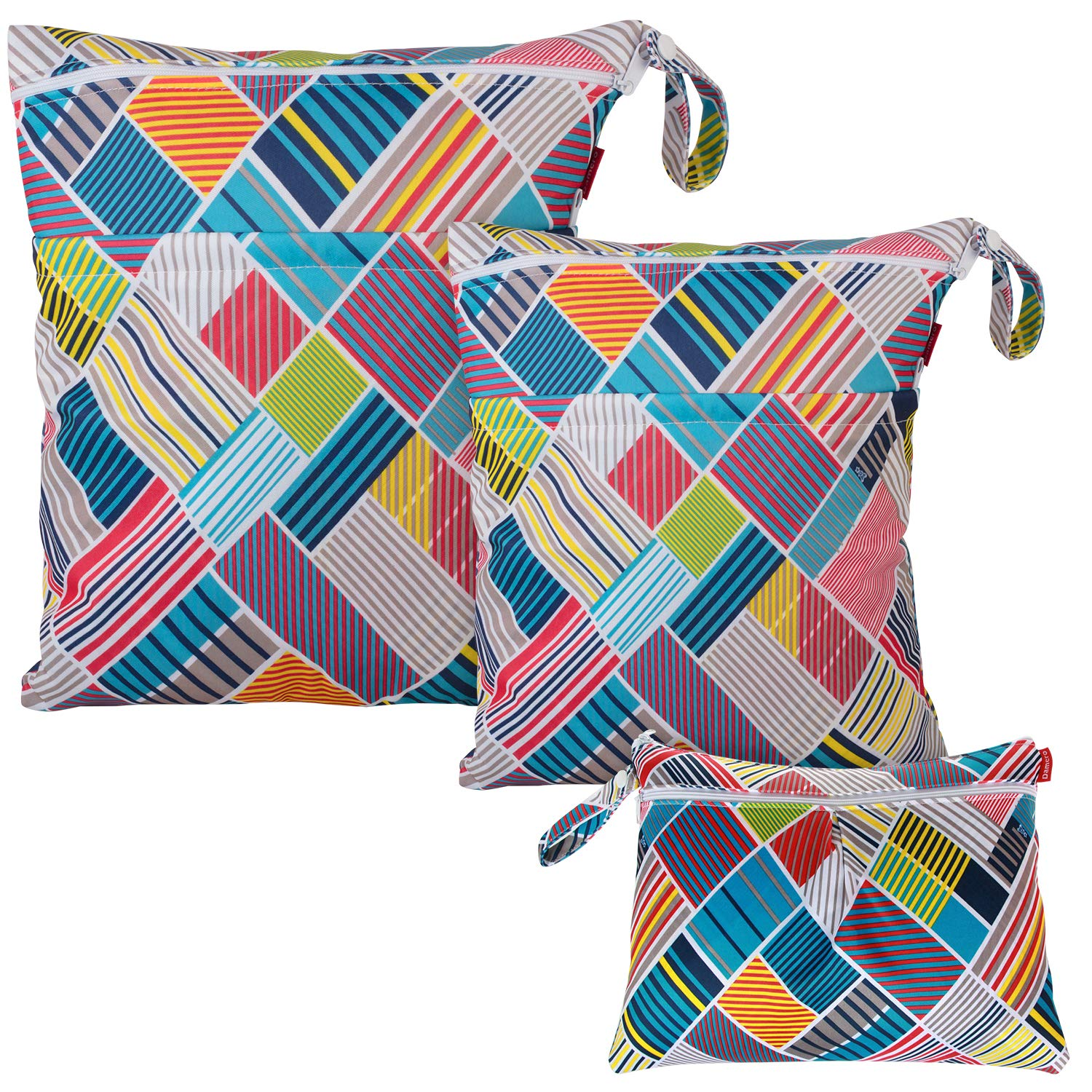 Damero 3pcs Wet Dry Bag for Cloth Diapers Daycare Organizer Bag, Cloth Diaper Wet Dry Bag with Handle for Swimsuit, Pumping Parts, Wet Clothes and More, Multi Stripes