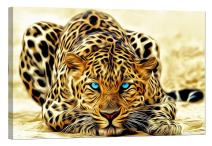 LightFairy Glow in The Dark Canvas Painting - Stretched and Framed Giclee Wall Art Print - Lion Tiger Leopard Painted Leopard - Master Bedroom Living Room Decor - 6 Hours Glow - 36 x 24 inch