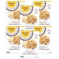 Simple Mills Almond Flour Crackers, Black Cracked Pepper, Gluten Free, Flax Seed, Sunflower Seeds, Corn Free, Better for you Snacks, Made with whole foods, 6 Count, (Packaging May Vary)