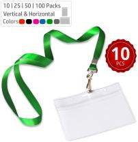 Durably Woven Lanyards & Horizontal ID Badge Holders ~ Premium Quality, Waterproof & Dustproof ~ for Moms, Teachers, Tours, Events, Businesses, Cruises & More (10 Pack, Green) by Stationery King