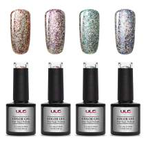 Gel Nail Polish Autumn Fall Winter Set ULG 4 Sliver Glitter Colors 10ml