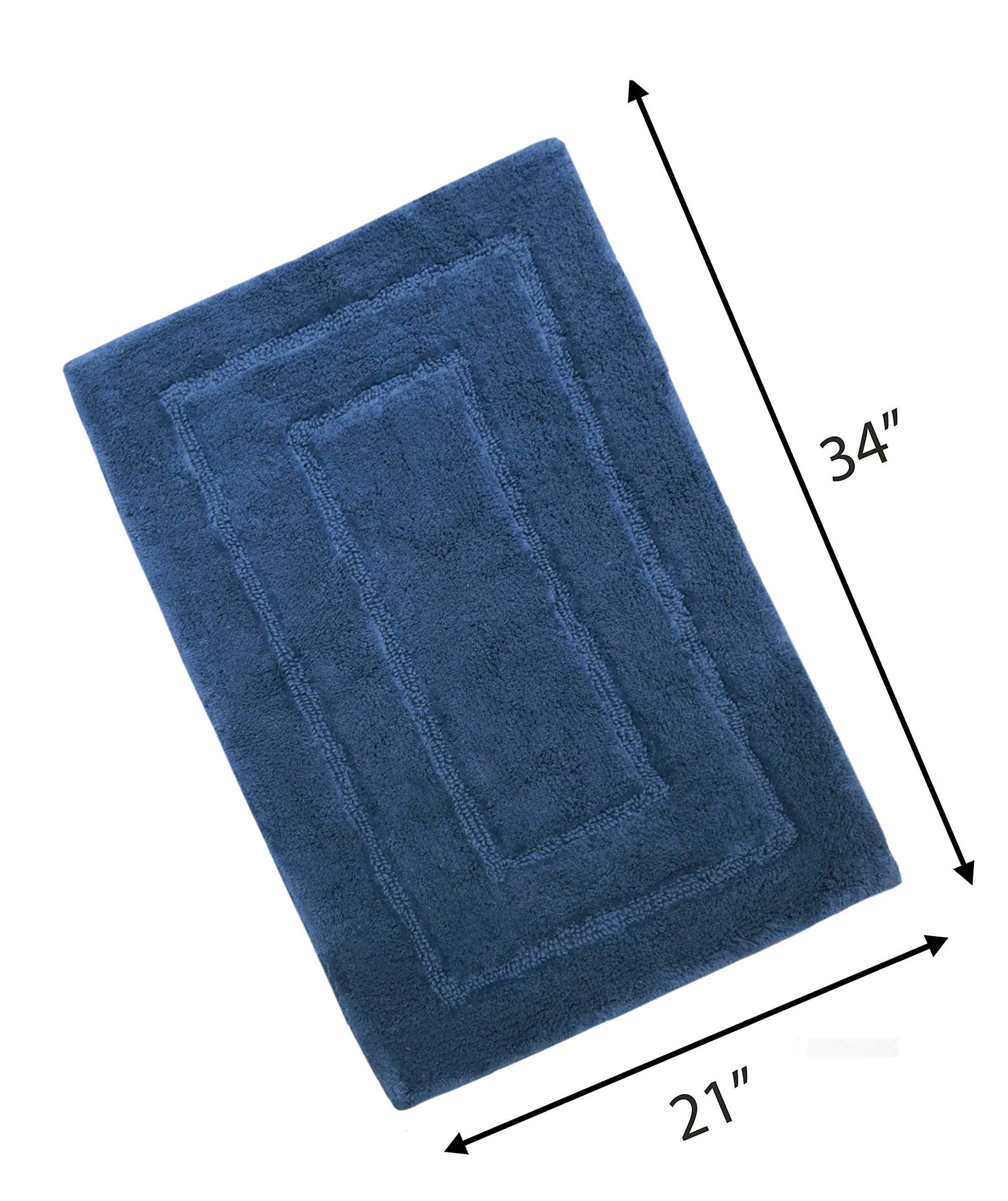 """Woven St Tufted Luxury Cotton Bath Rug Floor mat Super Soft for Spa Vanity Shower Machine Washable Bath Rug for Bathroom/Kitchen Water Absorbent Anti-Skid Bedroom Area Rug (21"""" x 34"""")- Navy"""