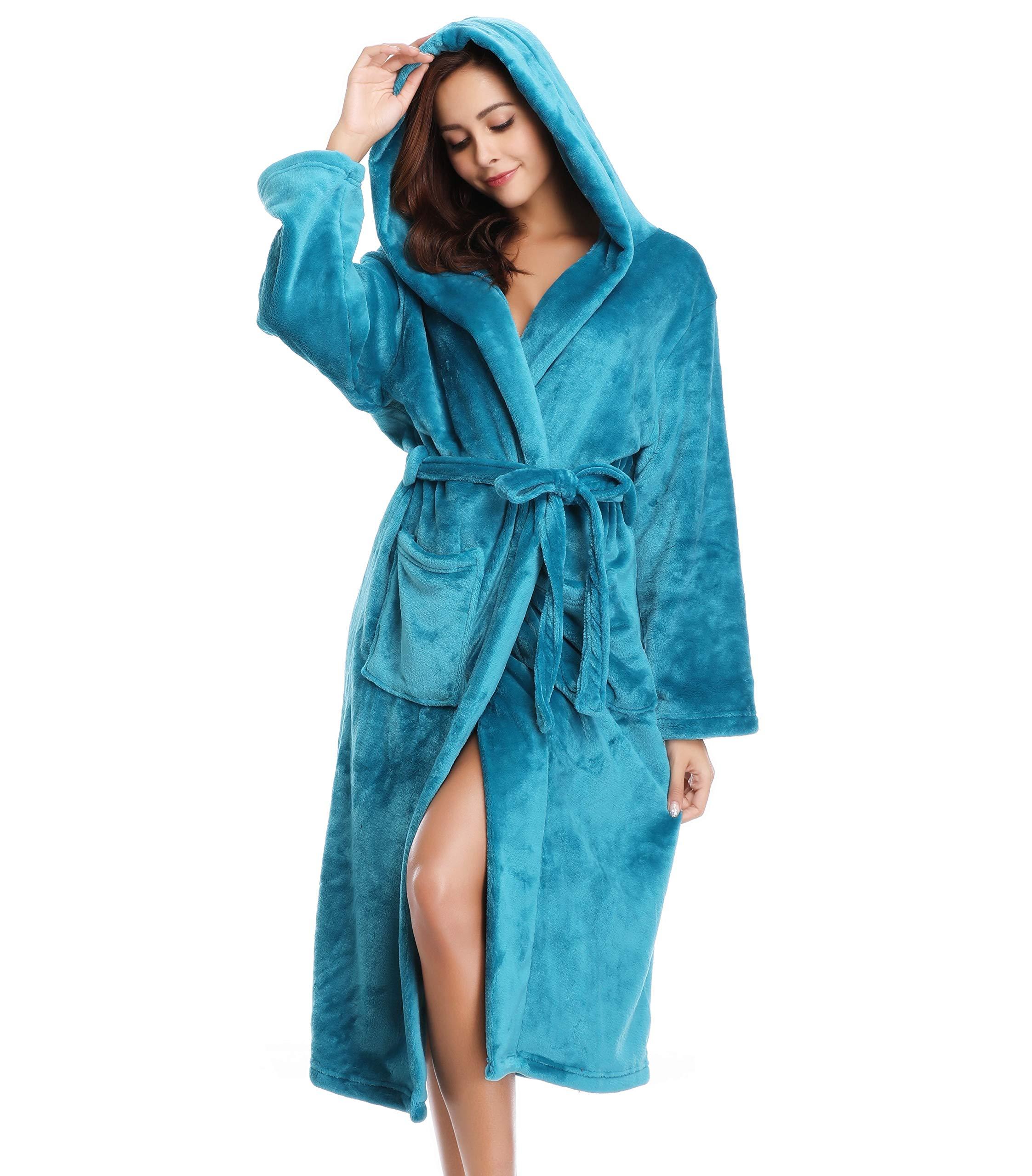 Vlazom Women's Warm Fleece Robe with Hooded, Soft Plush Bathrobe Fluffy Long House Coat