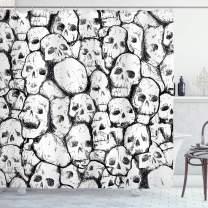 "Ambesonne Skull Shower Curtain, Conjoined Head Motifs Spooky Fossils Motley Dark Sketchy Artwork Print, Cloth Fabric Bathroom Decor Set with Hooks, 75"" Long, White Black"