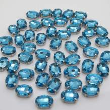 Turquoise Rhinestones Oval Sew On Rhinestone 50pcs 10x14mm Flatback Rhinestones with Silver Prongs for Crafts Clothes Dresses Shoes Jewelry Making