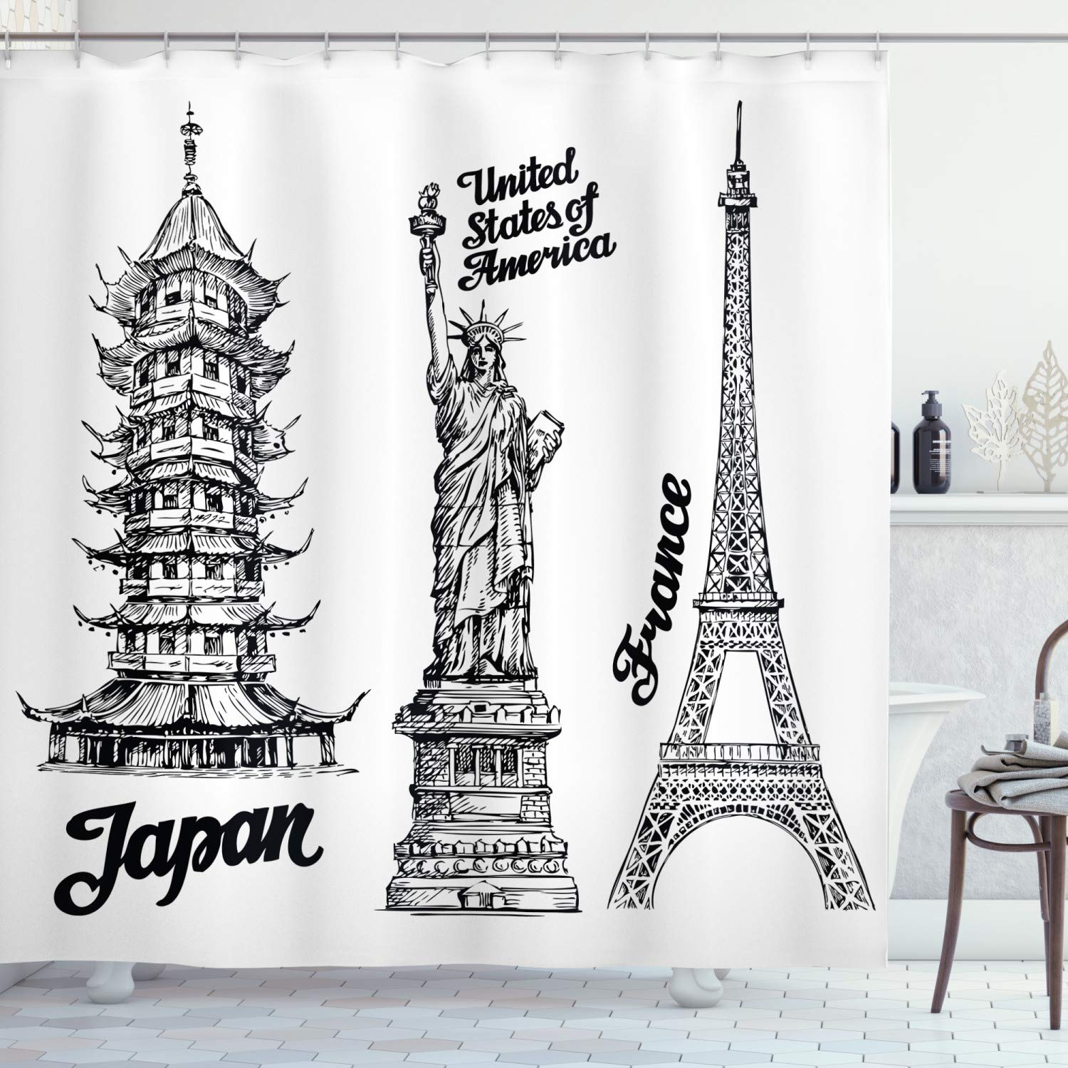 """Ambesonne Eiffel Tower Shower Curtain, Famous Monuments of Liberty Eiffel Tower Japanese Building Urban, Cloth Fabric Bathroom Decor Set with Hooks, 75"""" Long, White Black"""