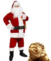 Cuteshower Men Deluxe Santa Claus Costume Adult Christmas Cosplay Outfit Santa Suit Set