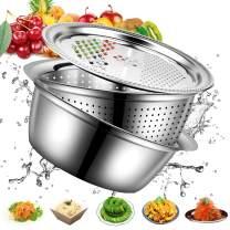 3 in 1 Stainless Steel Drain Basket Vegetable Cutter Cheese Grater Upgrade 11 Inch Multipurpose Julienne Grater Vegetable Fruit Rice Food Washing Bowl Strainer Set Salad Maker Bowl