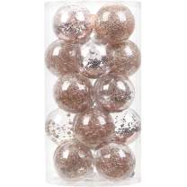 """Sea Team 80mm/3.15"""" Shatterproof Clear Plastic Christmas Ball Ornaments Decorative Xmas Balls Baubles Set with Stuffed Delicate Decorations (20 Counts, Rose Gold)"""