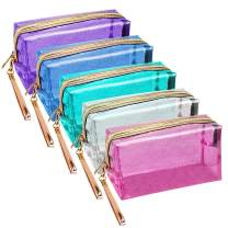 Meetory 5 Pack Waterproof Cosmetic Bag Portable Translucent Makeup Bag Zippered Travel Toiletry Pouch for Vacation, Bathroom, Organizing