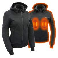 Milwaukee Leather Heated Soft Shell Women's Textile Hoodie jacket - Battery Pack Included (BLACK, MD)