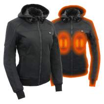 Milwaukee Leather Heated Soft Shell Women's Textile Hoodie jacket - Battery Pack Included (BLACK, XS)