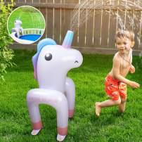 BATURU Unicorn Sprinkler, Yard Sprinkler for Kids, Inflatable Water Toys for Outdoor Water Activities, Sprinkler Accessories for Childs Inflatable Pool