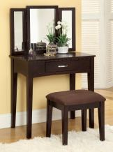Furniture of America Doris 2-Piece Vanity and Stool Set, Espresso
