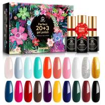 MEFA 23 Pcs Gel Nail Polish Set with Nice Box, Soak Off UV LED Nail Gel Collection with Glossy and Matte Top Coat Base Coat Manicure Nail Art Salon