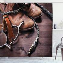 """Ambesonne Western Shower Curtain, Old Leather Boots and Spurs Rustic Rodeo Equipment USA Style Art Picture Print, Cloth Fabric Bathroom Decor Set with Hooks, 84"""" Long Extra, Brown Black"""