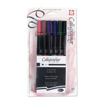 Sakura 50322 6-Piece Pigma Blister Card Assorted Colors Calligrapher Pen, 3-mm