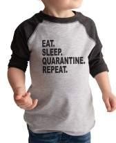 7 ate 9 Apparel Kids Eat. Sleep. Repeat. Social Distancing Shirt Grey Raglan