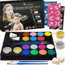 Luxtaka Kits for Kids-36 Art Stencils 16 Watered-Base Kids Face Paint Glitters, Sponges 2 Brushes,1 Paper Mixing Color Guide for Cosplay Halloween Makeup