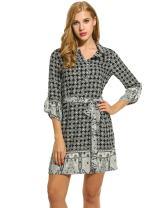 Hotouch Womens 3/4 Sleeve Printed Shirt Dress Waist Tie Polo Neck Boho Dress