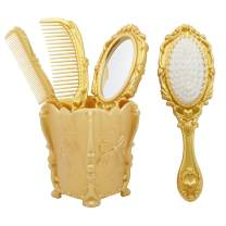 Vintage hand Mirror Comb Set-Dolovemk Girls Cosmetic Classical Wide Tooth Comb,Vintage handheld mirror with Embossed Flower,Detangling Hair Brush,Rat Tail Comb,Ideal Gift(Gold)