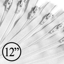 KGS 12 inch Nylon Zipper Zipper | 100 Zippers/Pack (White)