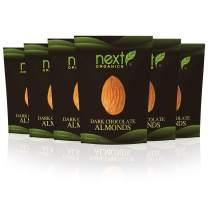Next Organics Dark Chocolate Almonds 4 Ounce (Pack of 6)
