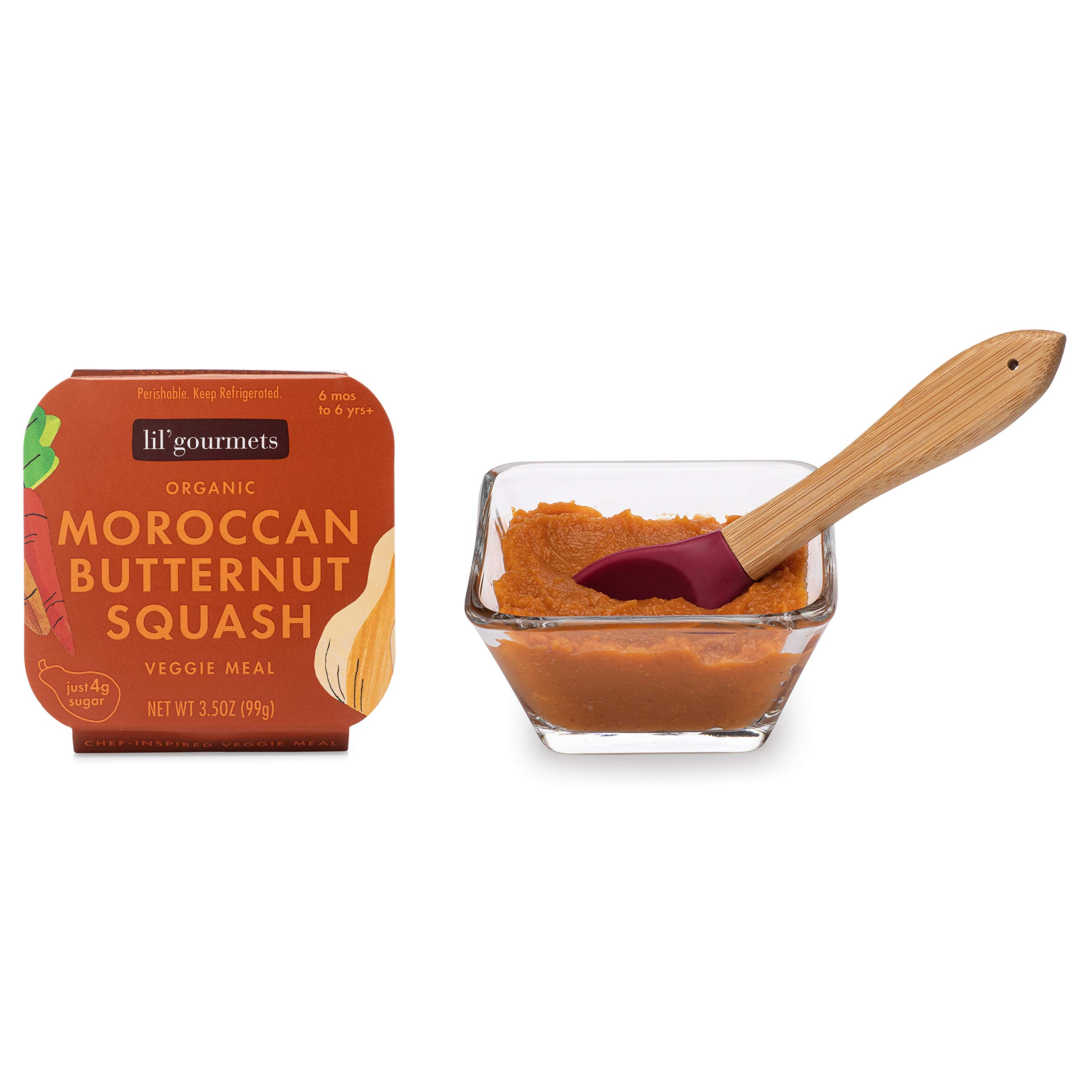 lil'gourmets Organic Baby Food Stage 1 2 3 4– Refrigerated Natural, Organic Baby Food & Toddler Food, Moroccan Butternut Squash (Pack of 8)