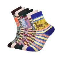 Footfox 6 Pairs Womens Wool Socks Thick Knit Vintage Warm Casual Winter Socks Fits Size 5-9