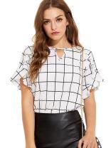 Romwe Women's Casual Ruffle Sleeve Keyhole Front Blouse Shirt Top
