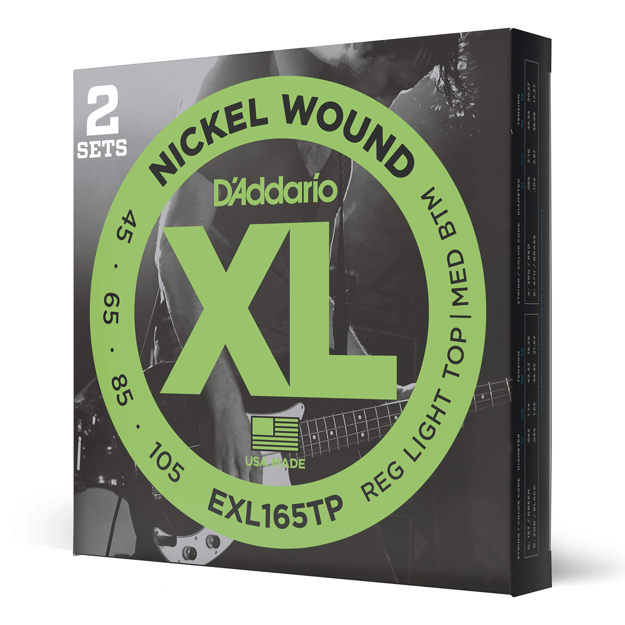 D'Addario EXL165TP Nickel Wound Bass Guitar Strings, Custom Light, 45-105, 2 Sets, Long Scale