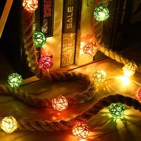 Miusco Led Fairy String Light, 3m/10ft 30 LEDs, IP20 Water Resistant, Battery Operated Rattan Ball Night Light for Bedroom Bathroom Farmhouse Rustic Wall Decor and Table Centerpiece.