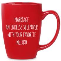 Marriage an Endless Sleepover - 14 oz Red Bistro Coffee Mug - Best Gift Ideas for Wife Husband Fiance' Him Her Couple - Birthday Christmas Valentines Day Anniversary Engagement Proposal Wedding Shower