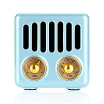 Retro Radio Vintage Bluetooth Speaker FM Radio 800mAh Rechargeable Battery, with Speaker Best Sounds, Design, Lovely Apperance, Supported Bluetooth, AUX Input, TF Cards, Blue