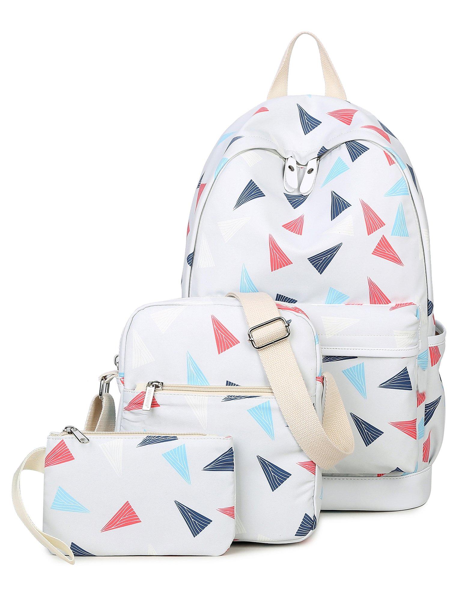 Leaper Cute Triangles Backpack Shoulder Bag Pencil Case 3PCS Set Light Gray