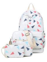 Leaper Cute Triangles Backpack Shoulder Bag Pencil Case 3PCS Set Light Gray