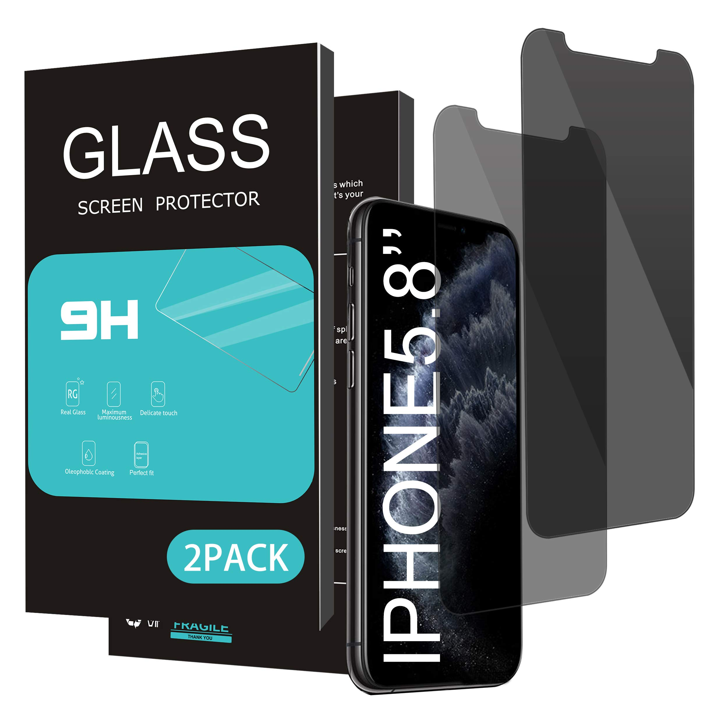 HOMEMO Privacy Screen Protector for iPhone 11 Pro/iPhone X/iPhone Xs 5.8Inch 2 Pack Anti Spy Tempered Glass Anti Scratch Case Friendly