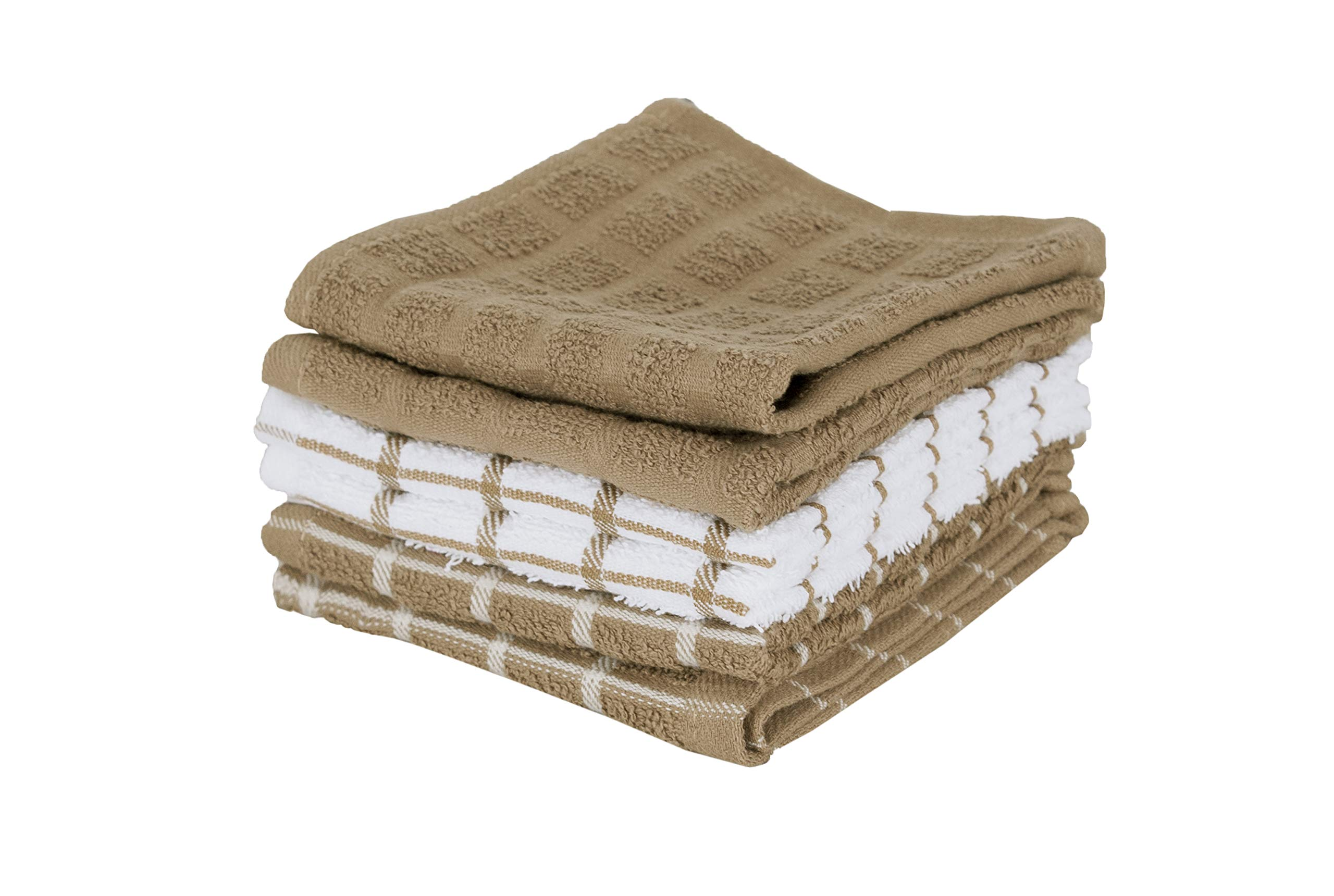 """Ritz 100% Terry Cotton, Highly Absorbent Dish Cloth Set, 12"""" x 12"""", 6-Pack, Mocha Brown"""