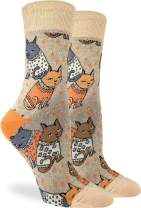 Good Luck Sock Women's Sweater Cats Socks - Brown, Adult Shoe Size 5-9