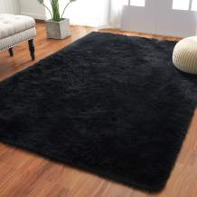 Softlife Fluffy Bedroom Area Rugs 5.3 x 7.6 Feet Shaggy Nursery Rug for Girls Baby Kids Dorm Room Modern Home Decorative Plush Indoor Floor Carpet, Black