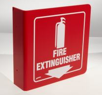 """Brady L0FE15A 8"""" Height, 8"""" Width, Silk Screened, White On Red Color Standard """"L"""" Sign, Legend """"Fire Extinguisher (With Picto)"""""""