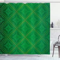 """Ambesonne Green Shower Curtain, Vector Illustration Seamless Pattern of Foliage Botanical Details Pattern, Cloth Fabric Bathroom Decor Set with Hooks, 70"""" Long, Forest Green"""